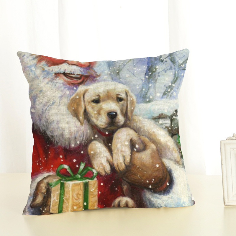 New Year Christmas Decorations For Home Christmas Pillow cover Santa Claus and Dog Cotton Linen Pillowcase Office Home Cushion (8)