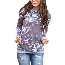 Autumn Floral Printed Sweatshirts Hoodies Women New Hooded Long Sleeve Plus Size Pockets Casual Tops Streetwear Ladies Pullovers цена 2017