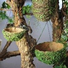 Соломенная плетеная декоративная настенная корзина Птичье гнездо, ротанг, ива, цветочные корзины цветочные горшки
