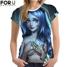 FORUDESIGNS Gothic Girls Print T-Shirt Women Cool Dark Art Summer Breathable Short Sleeve Tee Tops Female Casual Tshirt 2019 New