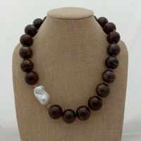 20'' 20mm Natural Round Smooth Bronzite White Keshi Pearl Necklace
