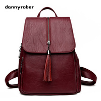 2017 Fashion Women Backpacks Tassels Soft PU Leather Bags Shoulder Schoolbags For Girls Female Backpacks Travel