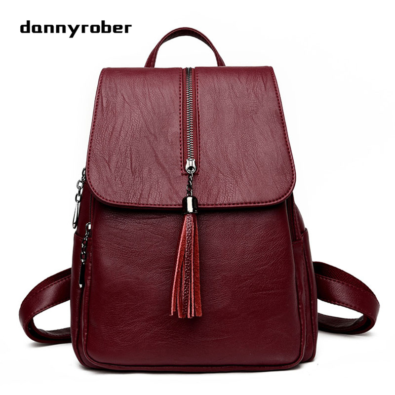 2017 Fashion Women Backpacks Tassels Soft PU Leather Bags Shoulder Schoolbags For Girls Female Backpacks Travel