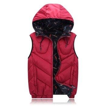 Winter 6XL 4XL 7XL 8XL plus size cotton men's vest snow winter red vest Outerwear & Coat Hooded Hat Detachable Both sides worn