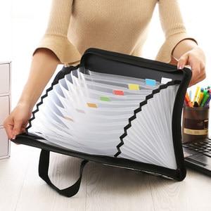 Image 2 - الأزياء مجلد متسع لحفظ الملفات للمستندات حالة A4 حقيبة مستندات متعددة جيب منظم الملفات سستة حقيبة