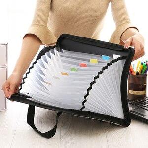 Image 2 - Fashion Expanding File Folder for Documents Case A4 Document Bag Multi Pocket File Organizer Zipper Bag