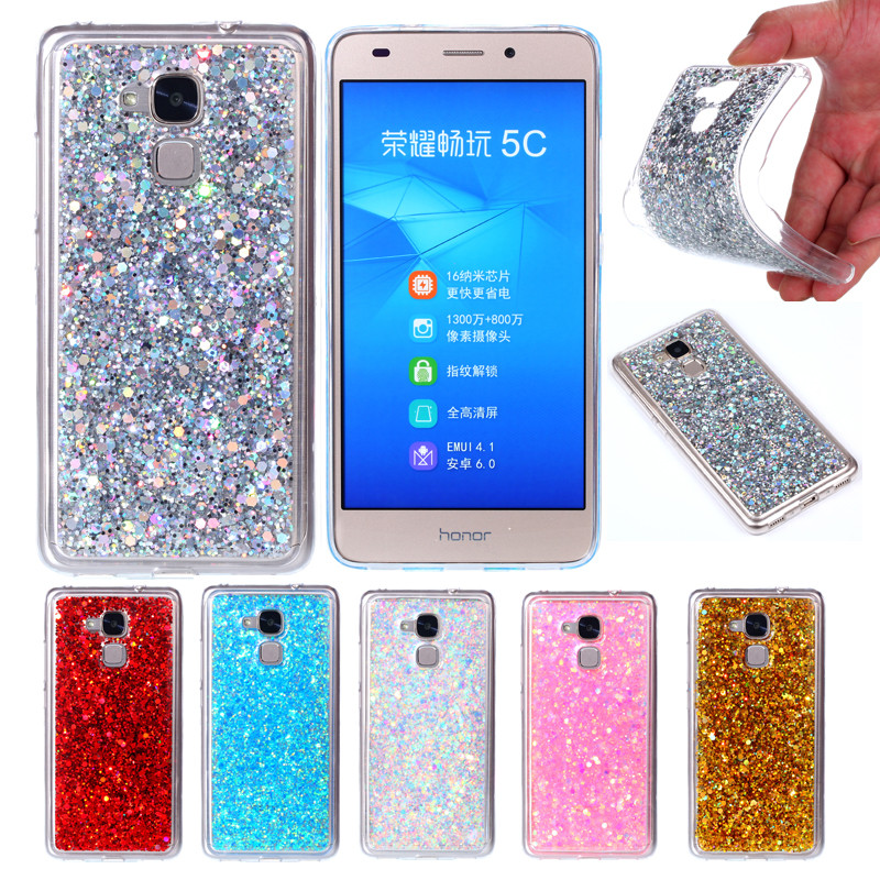 Huawei Honor 5C Nem-l51 Case Colored Shiny Glitter Silicone TPU Gel Soft  Back Cover Case for Huawei Honor 5C Honor5C Play 5.2 daaefb7f4da19