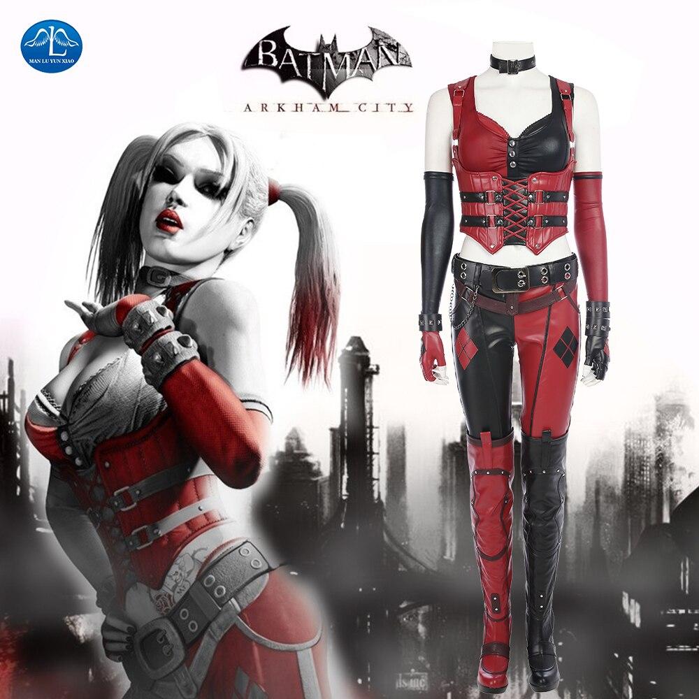 Batman Arkham Knight Costume Harley Quinn Cosplay Costume Women Halloween Costumes For Women Full Set Custom Made