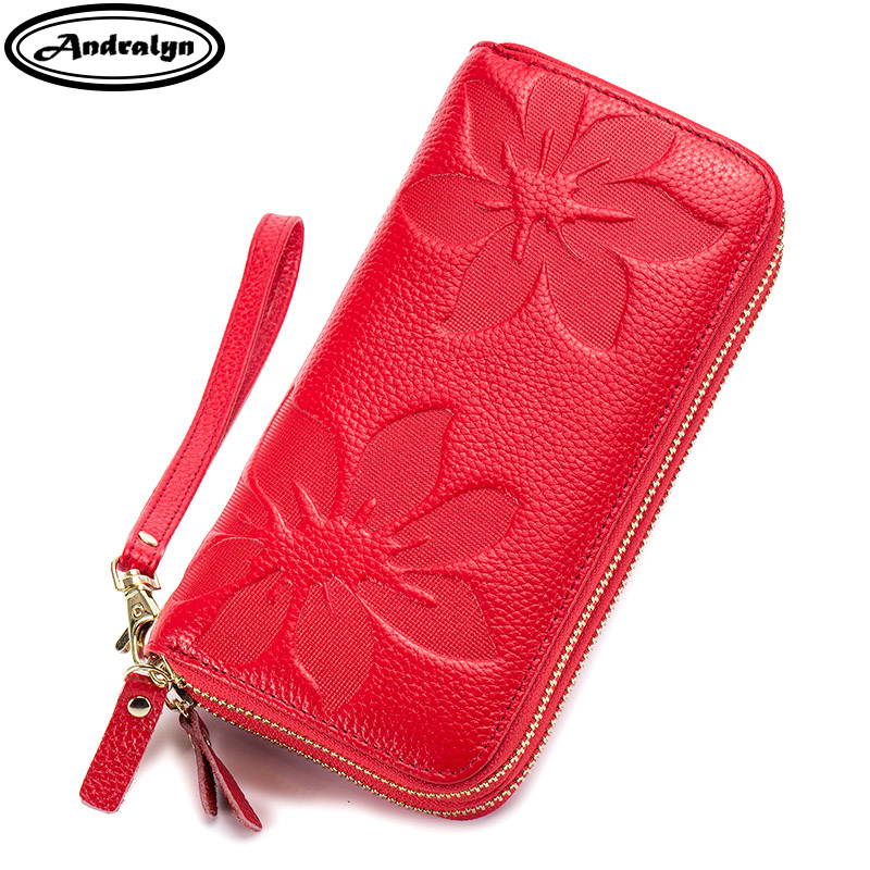 Andralyn 2018 new Genuine Leather Double Zipper Long Wallet for Women Phone Purse Embossed Ladys Wallet Card Holder Clutch Bag