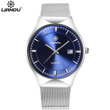 LIANDU brand luxury  men quartz watch stainless steel mesh strap ultrathin dial calendar clock relogio masculino liandu fashion men s luxury chronograph luminous black quartz watch simulated stainless steel mesh with watch