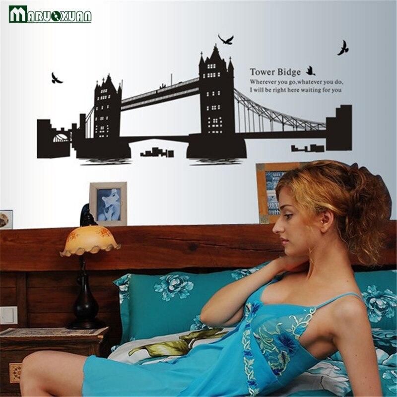 Londres double pont vinyle Stickers muraux décor à la maison Stickers 3d papier peint chambre canapé maison décoration Adesivo De Parede