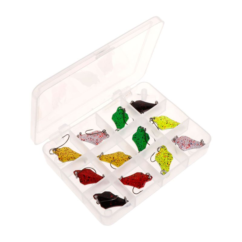12 Pcs/Set Fishing Lure Metal Hard Lure Carp Trout Bait Spoon Sequin 12 Compartments Storage Box Tackle Spinner Accessories|Fishing Lures| |  - title=