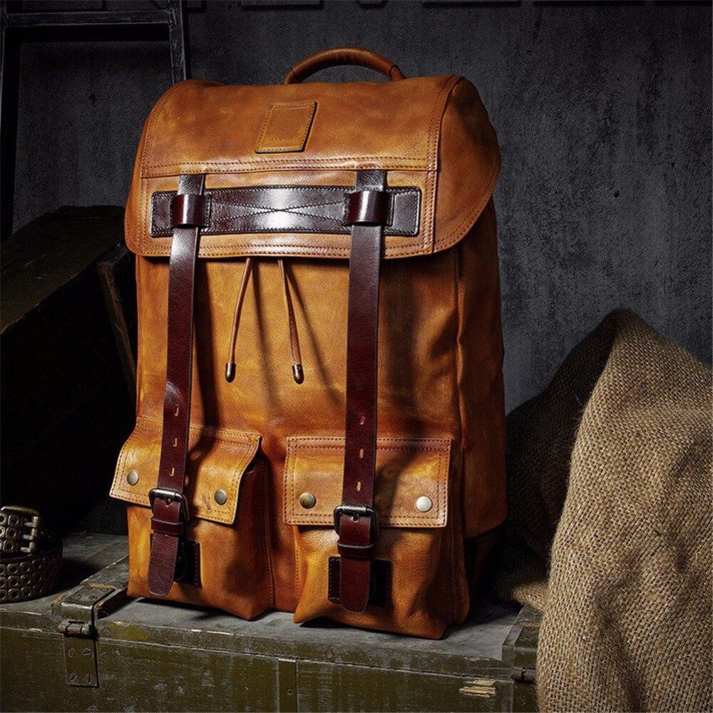 Sac à dos d'affaires classique sac d'ordinateur minimaliste pour hommes sac à dos en cuir de vache grande capacité sac à dos de voyage Moto Biker sac en cuir véritable