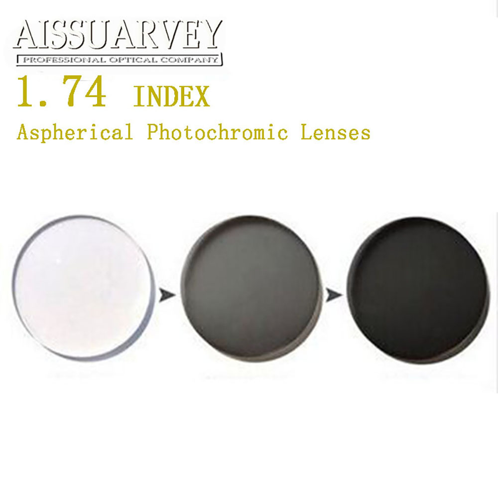 1 74 Index Aspherical Photochromic Lenses Cr 39 Anti glare Clear Change Gray Grade A Top