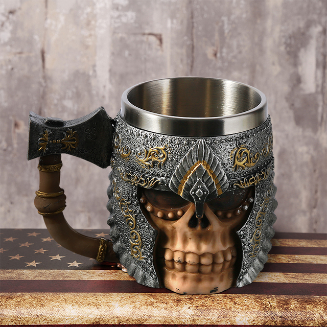 1Pcs 3D Axe ePacket Handle Viking Warrior 450ML Skull Mug Gothic Tankard Halloween Decoration Skeleton Cup Beer Stein Man Gift