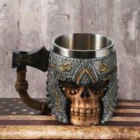 1 pièces 3D hache epaquet poignée Viking guerrier 450ML crâne tasse gothique Tankard Halloween décoration squelette tasse bière Stein homme cadeau
