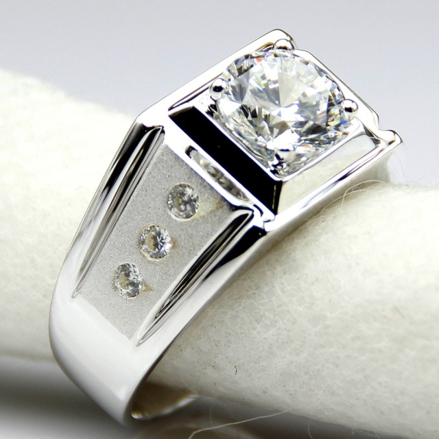 Diamond Men Ring Center 2 Carat Simulated Diamond Engagement Ring