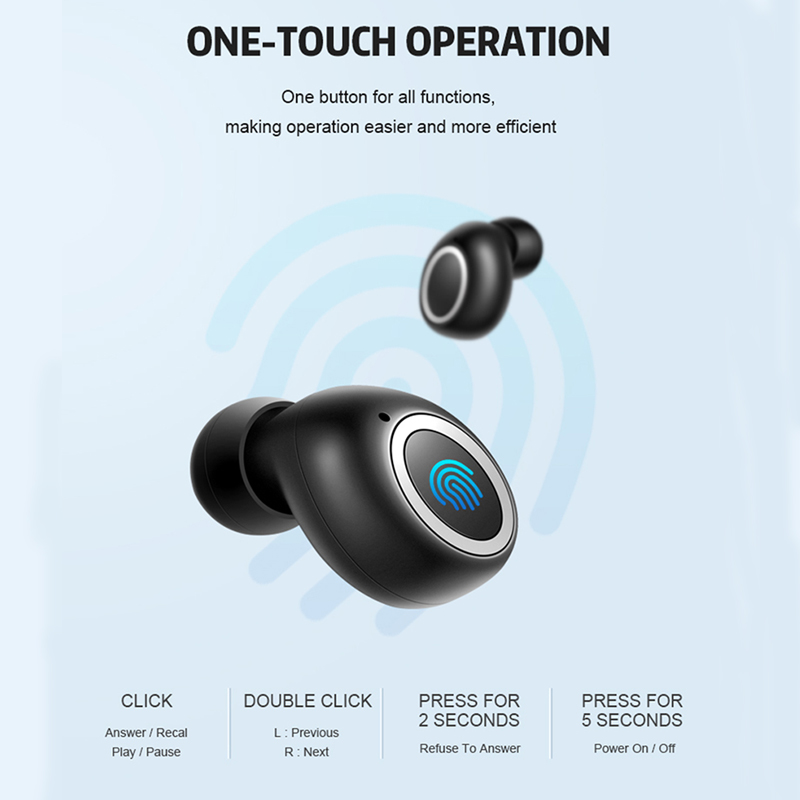 TEBAURRY Bluetooth Earphone 5.0 TWS Mini Wireless  Earbuds Touch Control 3D Stereo Bass Wireless Headphones with Charging box