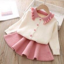 เสื้อผ้าเด็ก 2019 ฤดูใบไม้ร่วงและฤดูหนาวเกาหลีรุ่นแขนยาวSingle Breastedสาวเสื้อผ้าชุด