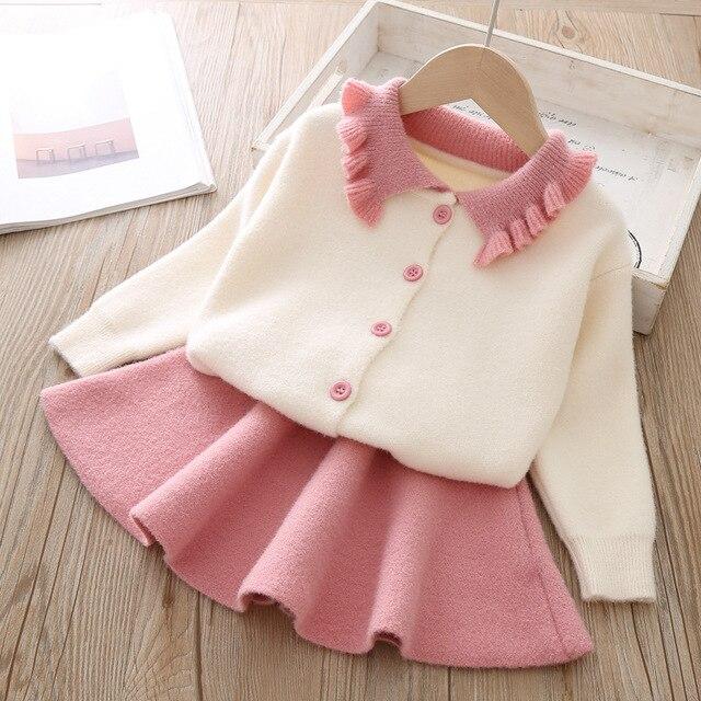 Conjunto de ropa para niña, modelos de otoño e invierno 2019, versión coreana de manga larga de solapa, traje de una sola botonadura, conjunto de ropa para niña