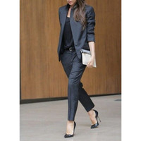 Women Pant Suits Office Uniform Fashion Lady OL Vocational Suit Black Long Sleeve Business Formal Occasions