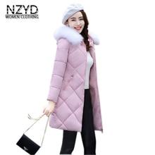 2017 Women Warm Coat Winter New Fashion Hooded Fur collar Medium long Cotton Jacket Long sleeve Slim Big yards Parkas LADIES313
