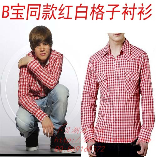 Justin bieber b clothes male long sleeve red and white plaid shirt ...