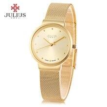 Julius Marca de lujo Relogio Feminino Reloj de Acero Inoxidable Reloj de Las Mujeres Relojes Moda Casual Reloj de Cuarzo Reloj de Pulsera