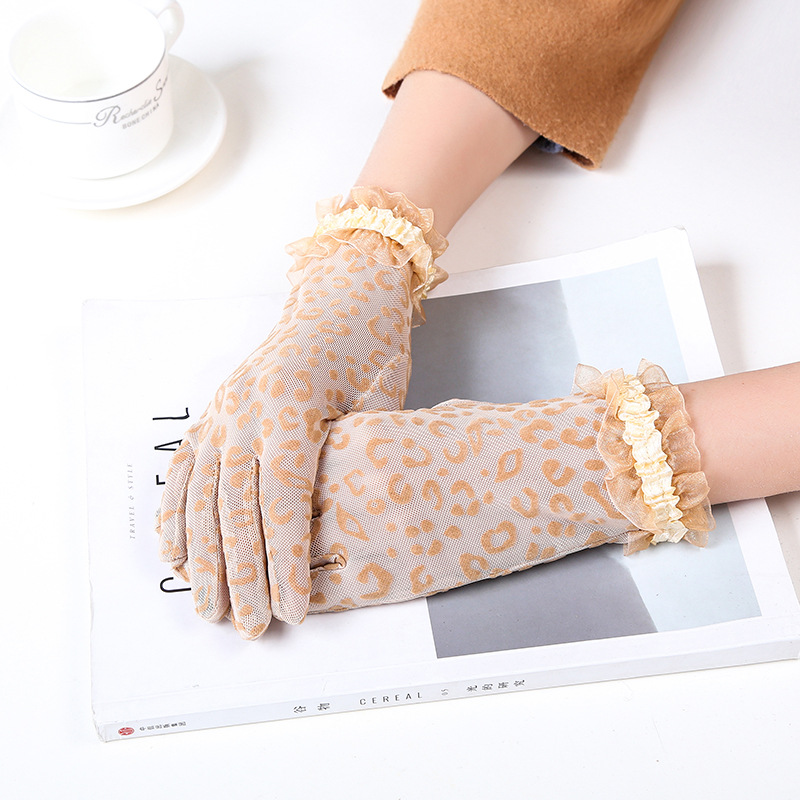 Female Sexy Leopard Print Lace Summer Sunscreen Gloves Ceremony Women's Gloves Breathable Short Full Finger Gloves B68
