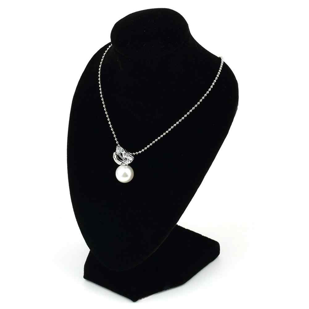 Black chic Velvet Mannequin Necklace Pendant Jewelry Display Stand Holder Show Shelf