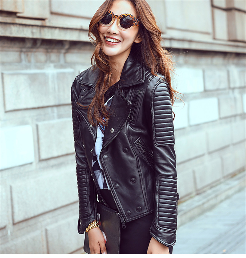 Ayunsue Genuine Leather Jackets European Style Women Sheepskin Coat