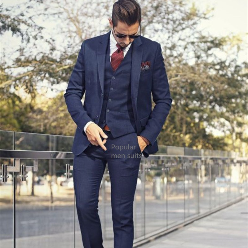 Handsome-Navy-blue-Jacket-Pants-vest-Business-Mens-Suits-3-Pieces-Groomsmen-Suit-Wedding-Suit-for_