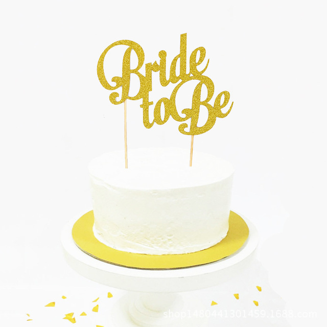 Bride To Be Cake Topper Cupcakes Flag Bridal Shower Supplies Gold