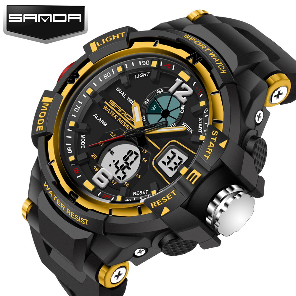 Sanda Sale 2018 New Brand Fashion horloge Heren G Stijl Waterproof Sport Militaire horloges S-shock Heren Luxury Quartz Led Digital