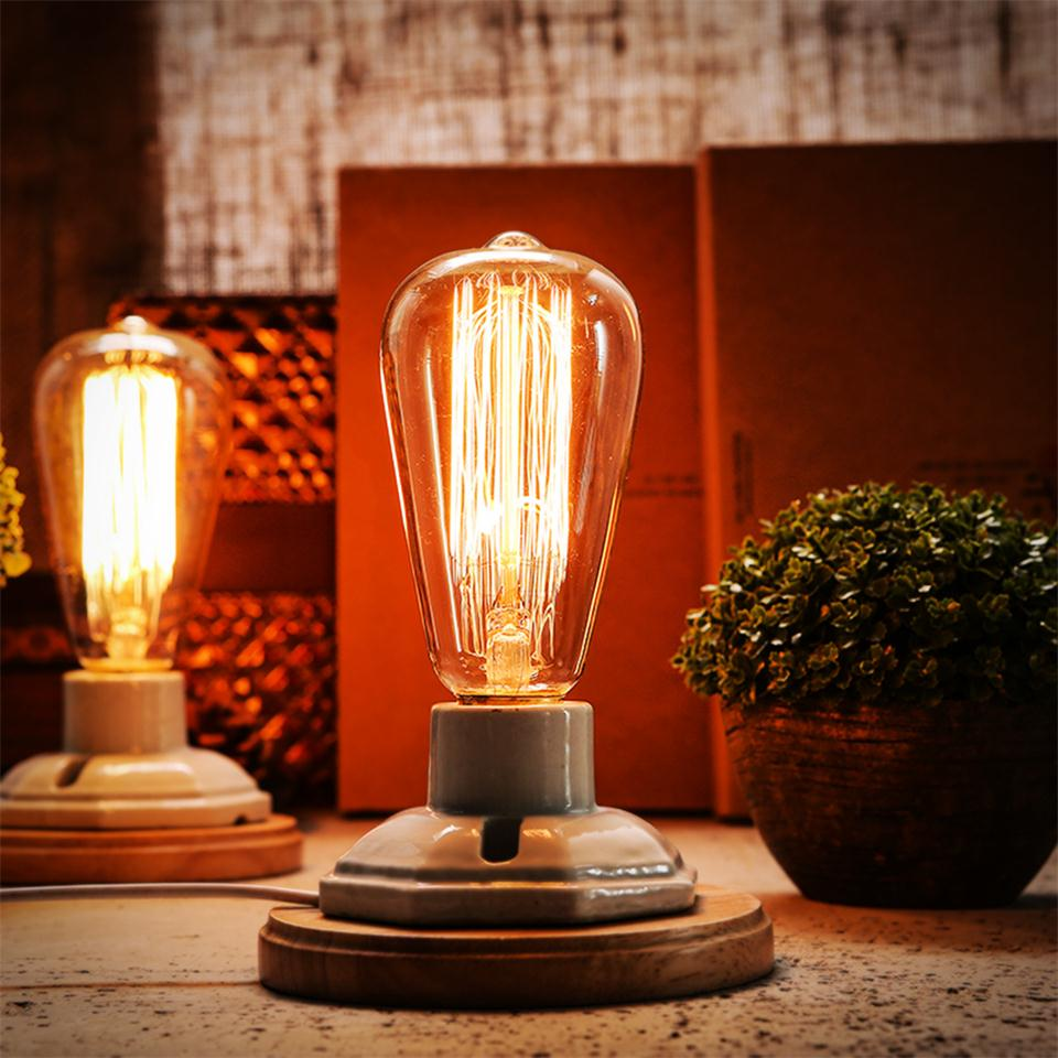 Industrial Desk Light For Home Decor no Bulb Vintage White Ceramics Wooden Base Table Lamps With On/off Switch E27 Base