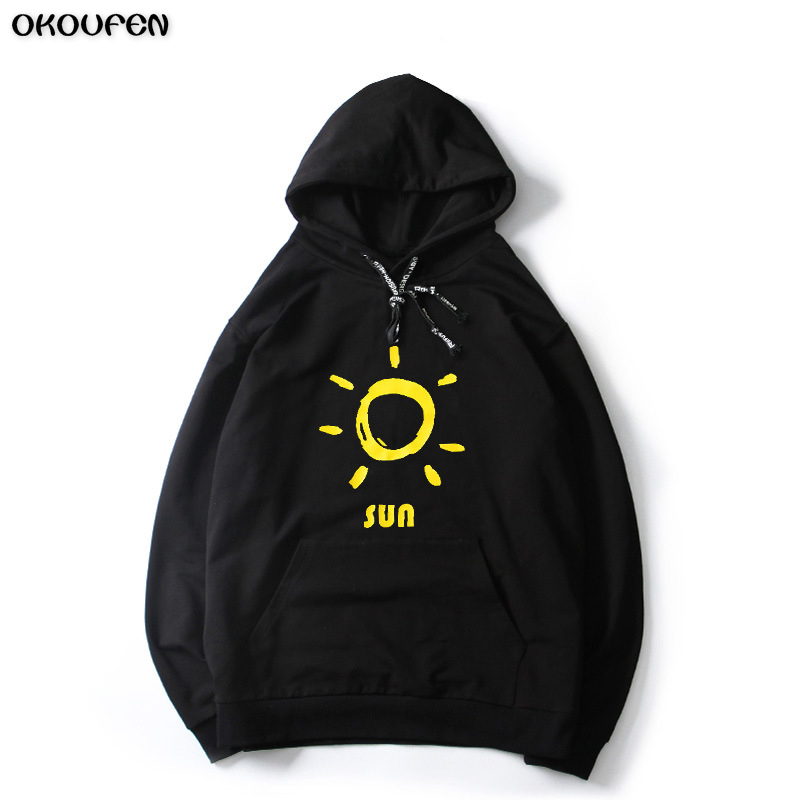 Mens Hoodies 2018 New Pullovers Cotton Black White Fashion Sun Sweatshirts Hooded Coats Hoddies Sweat Homme Size M-5XL WY12