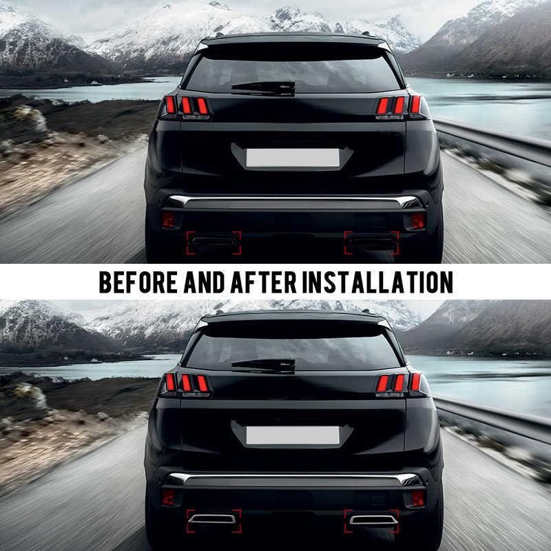 Para Peugeot 3008 II Allure Active 5008 2017 2018 2019 ABS cromado escape trasero silenciador salidas pegatina cubierta 2 uds
