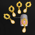 b470 50pcs/lot Vintage  Hollow Golden Oval Alloy Dangle Glitter Tear Water Drop 3D Chain Nail Art Phone Craft Decorations