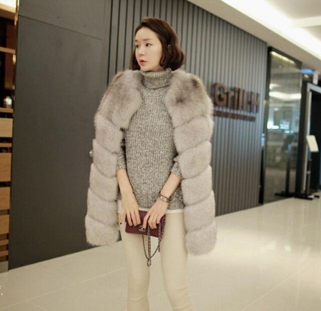 d7d79f559b97d 2018 Women Real Genuine Fox Fur Vest Coat Jacket Medium-long Ladies Warm  Thick Outerwear