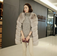 2018 Women Real Genuine Fox Fur Vest Coat Jacket Medium long Ladies Warm Thick Outerwear Natural Dark Grey Plus Size XL XXL 2XL