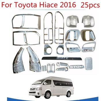 High-quality 25PCS ABS Chrome plated trim accessories plated For Toyota Hiace 2015 2016 2017 2018 Car exterior refit is special