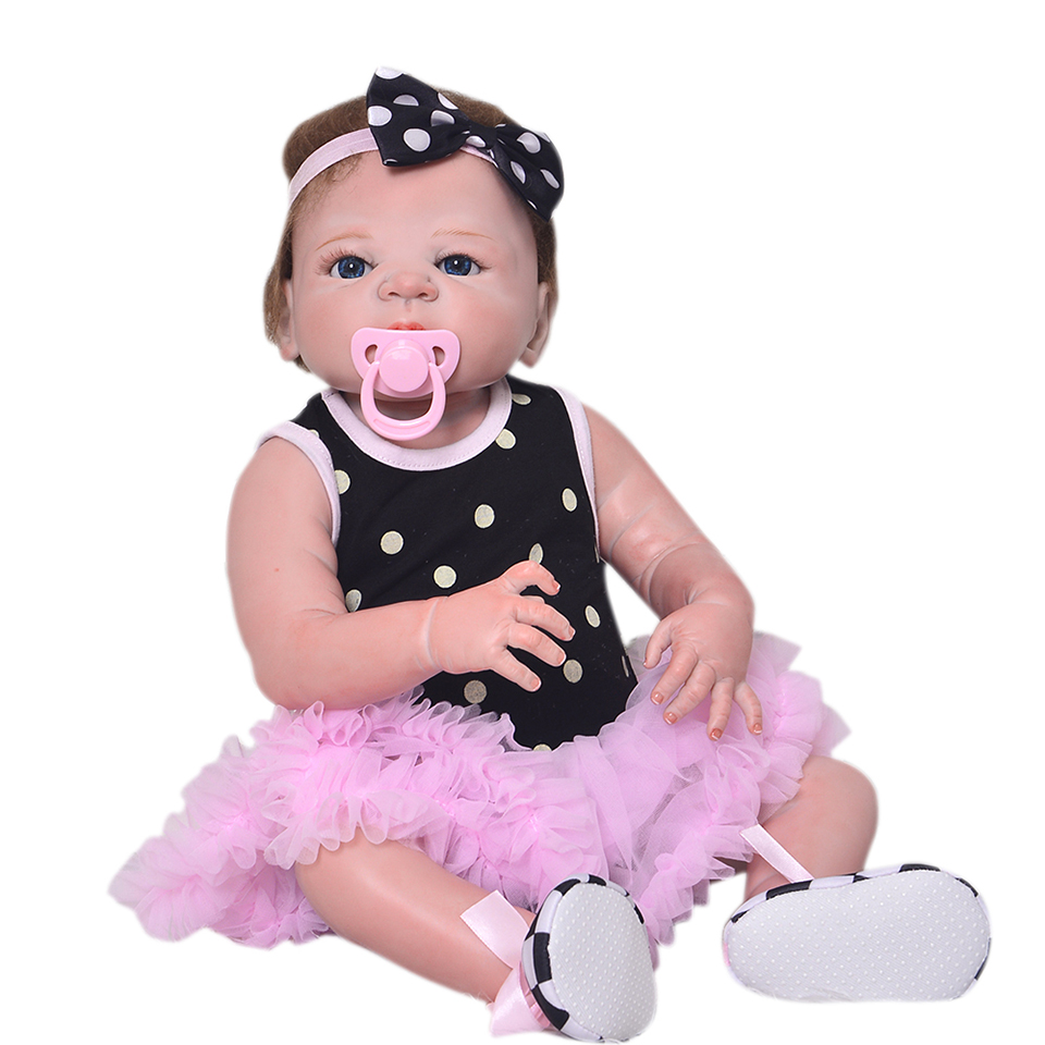 Full Silicone Vinyl Handmade Baby Doll Reborn 23 Inch Lifelike Newborn Babies Girl With Hair Children Birthday Christmas Gift can sit and lie 22 inch reborn baby doll realistic lifelike silicone newborn babies with pink dress kids birthday christmas gift