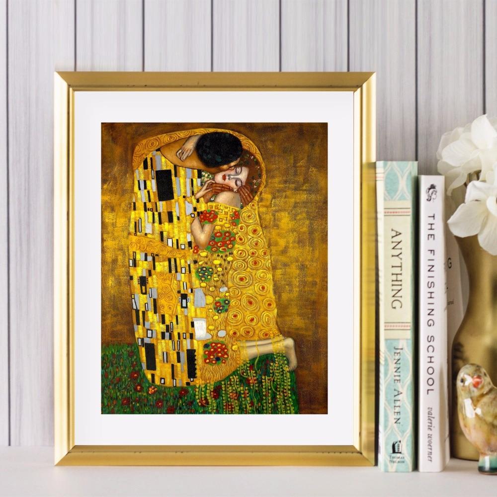 Gustav Klimt Kiss Classic Art Painting Print Canvas Art Poster Wall ...