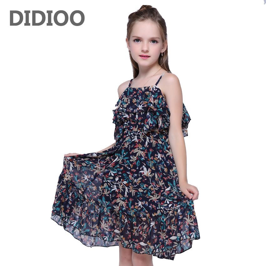 Girls Dress for Kids Sleeveless Chiffon Dresses Summer Infant Vestdios Child Print Sundress 8 10 12 Years Girls Vest Beach Dress new summer style girls dresses fashion knee length beach dresses for girls sleeveless bohemian children sundress girls yellow 3t