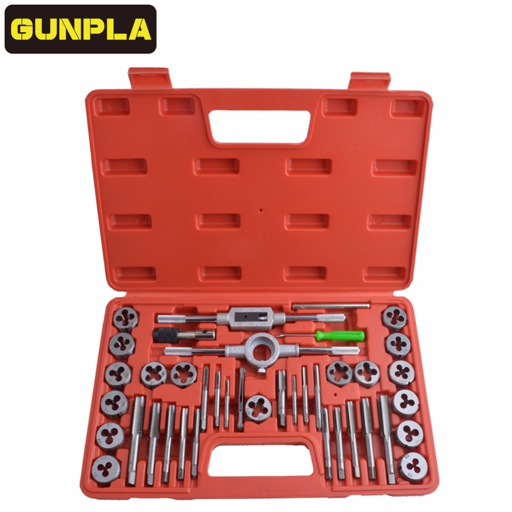 Gunpla 40 Pieces Adjustable Alloy Steel Metric Tap and Die Set,20pc/40pcs Thread Gauge Wrench Tap Die Threading Repair Tools Kit 40pcs tap die set metric taps dies adjustable tap die holder thread gauge wrench threading tools