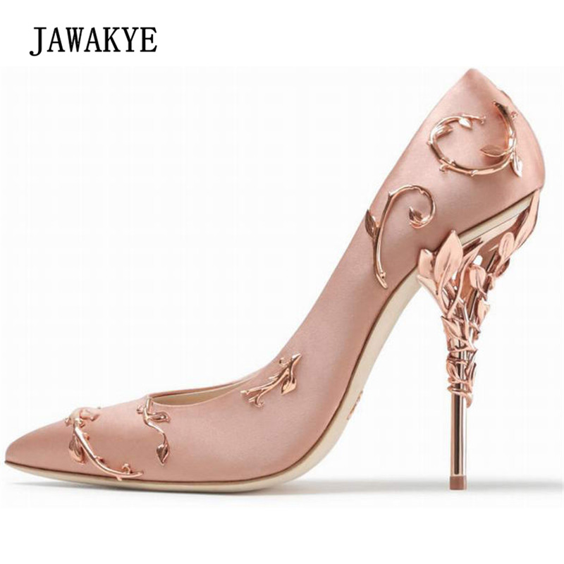 2018 Luxury Satin High Heel Shoes Woman Pointed Toe Metal Flower Heeled Pumps Fashion Stiletto Women Wedding Shoes