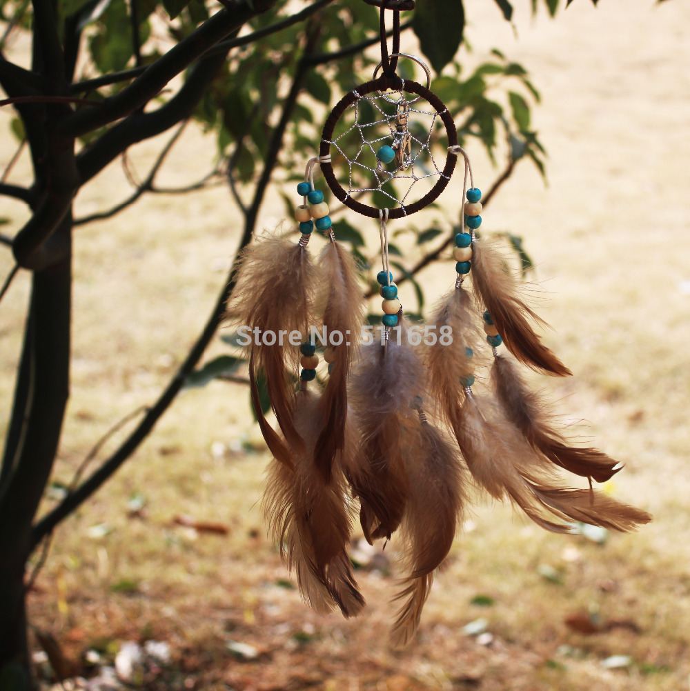2015 New fashion gift Hot brown Dreamcatcher skull Wind Chimes Indian Style Feather Pendant Dream Catcher Gift