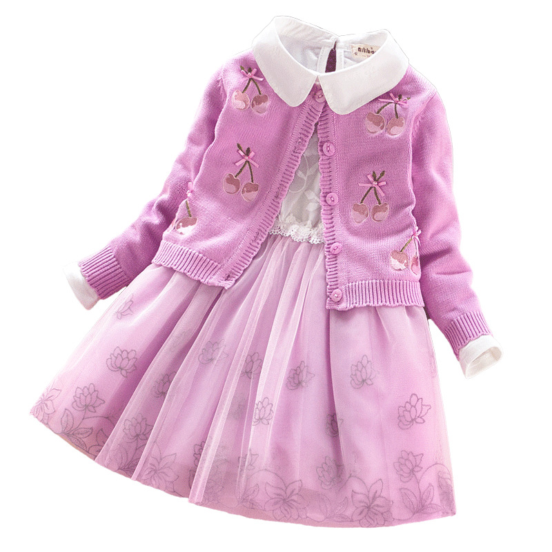 Girls Sweater Dress Set Kids lace Flowers Clothes Baby Cotton Sweaters+Dress 2Pcs High Quality Children Winter Autumn Clothing korea lace knitted sweaters warm dresses winter baby wear clothes girls clothing sets children dress child clothing kids costume