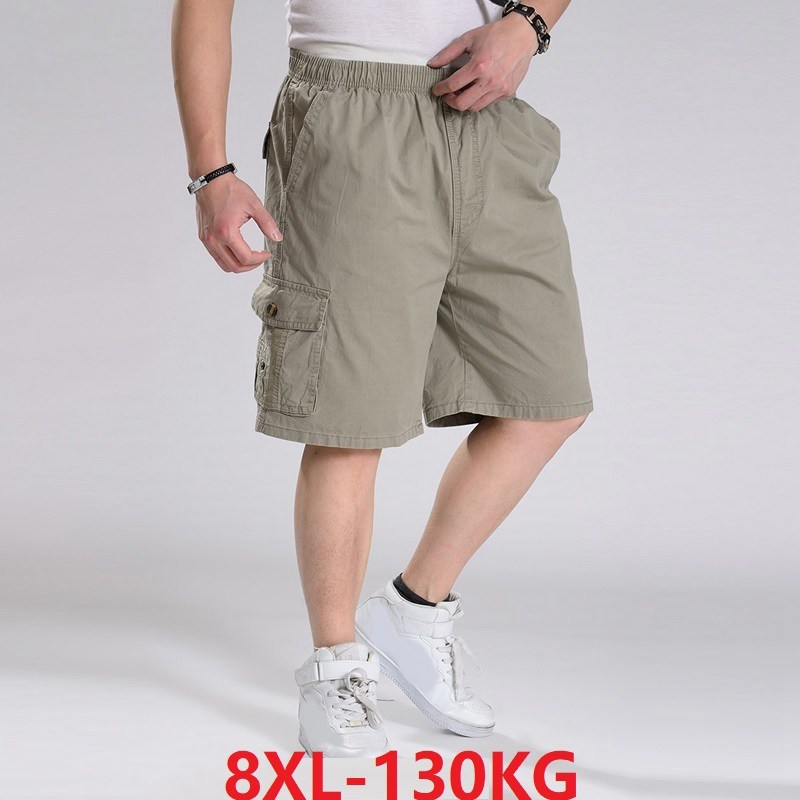 Safari Style Summer Men Large Size Big 8XL Cargo Shorts Pocket 10XL Stretch Out Door Cotton 130KG 6XL Casual Home Loose Shorts