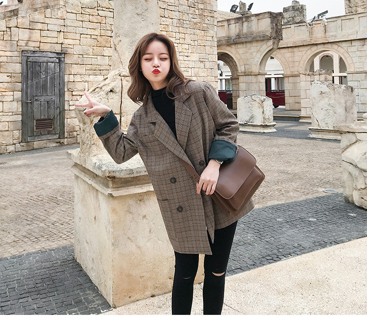 Autumn 2019 Large Size Women Checkered Small Suit Fat MM Fashion Suitxl XXL XXXL Fashion Jacket Women Coat Suit Notched Striped